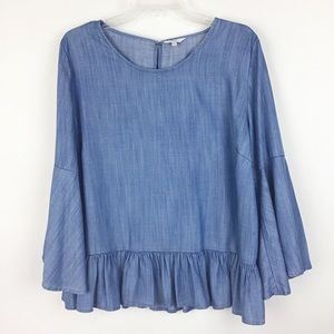 Crown & Ivy Chambray Bell Sleeve Top XL (1736)